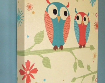 Two Owls on Branch Gallery Wrapped Canvas Print Multiple Size Options