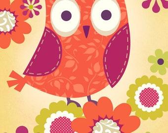 Red Owl Art Print 2