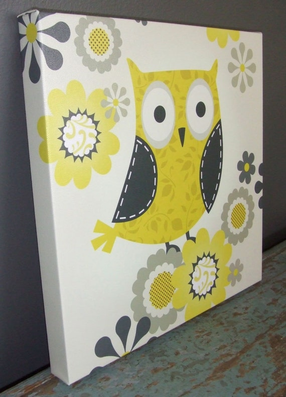 Yellow and Gray Patterned Owl Gallery Wrapped Canvas Print Multiple Size Options