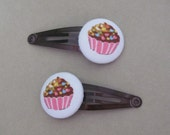 Cupcake hair CLIPS - Japanese fabric buttons - pink and brown