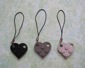 Dark Gray or Black  heart cell phone charm zipper pull
