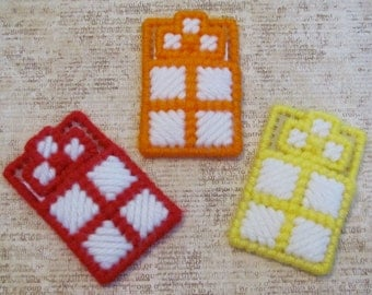 A Cross in My Pocket plastic canvas - blue, pink, purple, red, green, orange, yellow, black or brown  & white