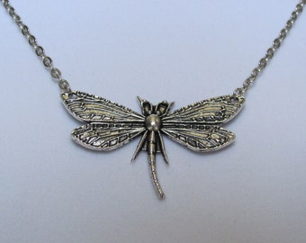SALE Dragonfly Antique Silver necklace LAST CHANCE
