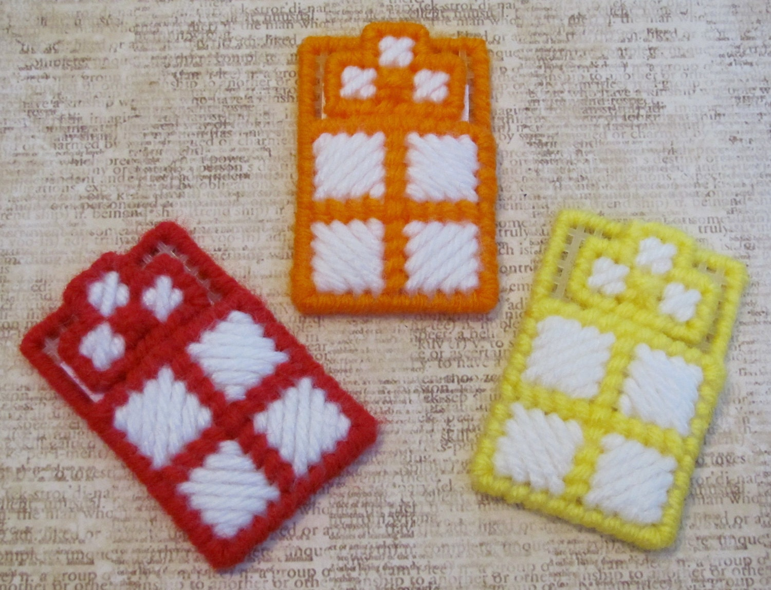 A cross in my pocket plastic canvas blue pink purple red for Cross in my pocket craft