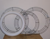 7 WIRE WREATH FRAMES, 2 STYROFOAM WREATH FORMS, AND 1 STYROFOAM CHRISTMAS TREE SHAPE FOR CRAFTS