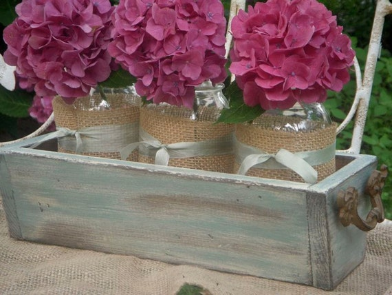 Rustic Chic Planter Box - small duck egg blue 14 inch