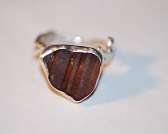 Amber Bottle Ring - Amber Sea Glass and Sterling Silver