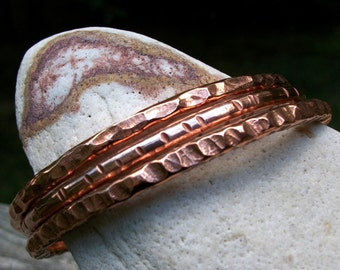 Copper Stacking Bangles - Three Substantial Copper Bracelets - Handmade