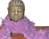Knit Neck Scarf / Purple Lavender Pink Light Blue Gray /  Sugar Plum Fairy