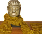 Hand Knit Scarf for Man or Woman / Cotton / Bamboo Yellow Cedar Green / Elegant Drop Stitch