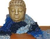 Reflecting Pond Classic Blue Boho Knit Scarf / April Showers / Dark Blue Royal Blue Sky Blue White / Bohemian Blues II