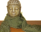 Dried Herb Hand Knit Scarf / Oscar the Grouch / Cedar Olive Army Green / Boho Style