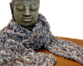 Hand Knit Scarf / Nougat Coffee Liqueur Gray Gold Silver Bronze Platinum / Lightweight
