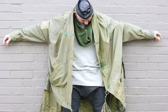 Men's Coat Reclaimed Army Issue Ex-Vietnam Pup Tent. A one-off piece.