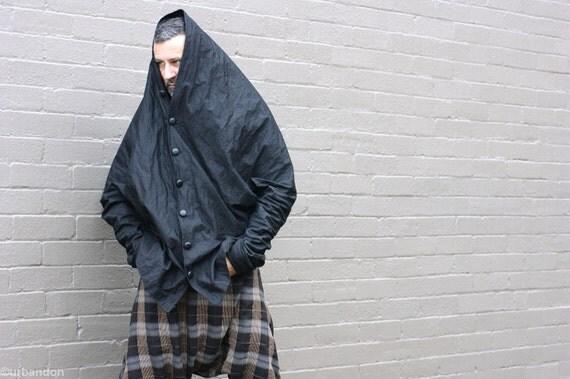 Mens Paper Crane Jacket in Black Metallic Cotton