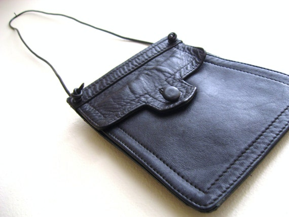 Black Recycled Leather necklace phone wallet purse jewellery pouch