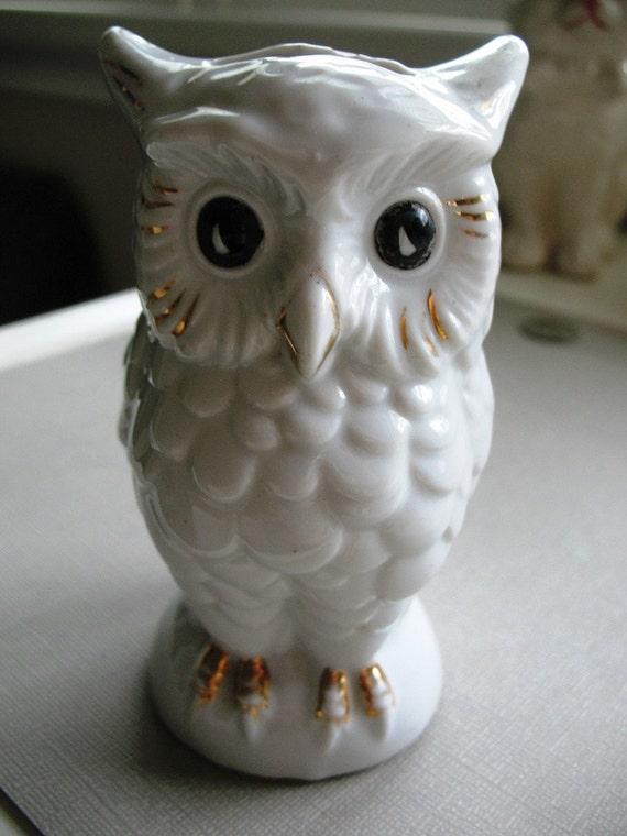 Vintage Gold Castle Made In Japan White Ceramic Owl Figurine