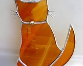 Cat Orange Stained Glass Suncatcher Valentines Mothers Day Teacher Gift Housewarming Yule Solstice Birthday Fathers Day Gifts