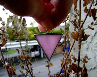 Pink Pride Triangle Black Triangle Stained Glass Pendant Gay Pride Parade Yule Valentines Day Ornament Same Sex Diversity Equality Sisters