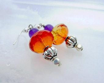 Earrings Jewelry Purple Orange Amethyst Harvest Autumn Birthday Halloween Pumpkins Yule Pagan Celtic Wicca Canadain HandmadeOOAK