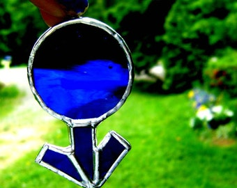 Mars Male Mens Symbol Stained Glass Gay Pride Week Ornament Christmas Pagan Wiccan Druid Yule Norse Egyptian Fathers Day Gift Birthday Blue