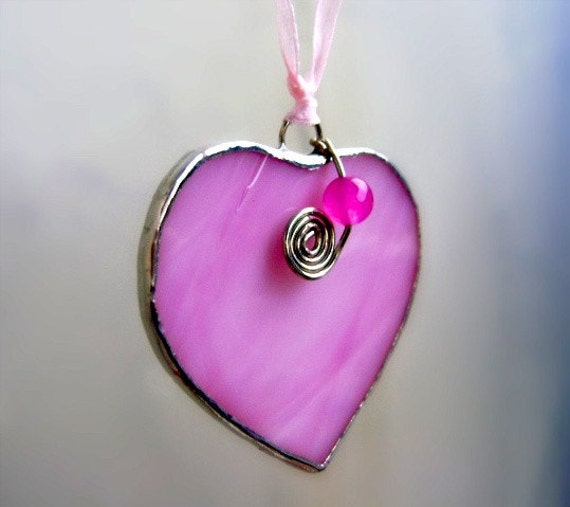 Strawberry Hearts Pink Stained Glass Ornament Jade Goddess Valentines Mothers Day Christmas Wedding Favor Birthday Yule Solstice Christmas