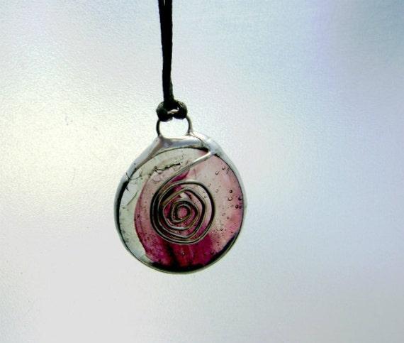 Pendant Purple Glass Grape Swirl Ornament Necklace Mothers Day Graduation Birthday Fashion Trend OOAK