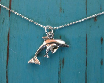 Mama Dolphin and Baby Calf Necklace