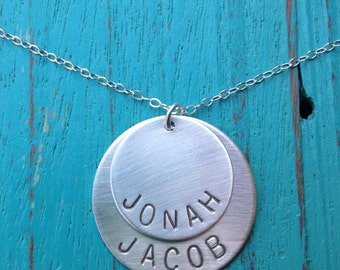 Sterling Silver Hand Stamped Personalized Double Name Necklace