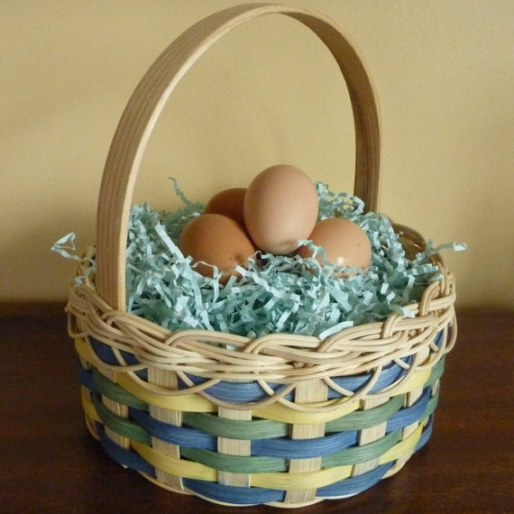 Victorian Easter Basket - Blue, Green and Yellow