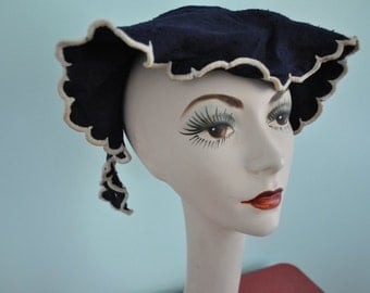 1940s hat vintage 40s navy blue scalloped bonnet