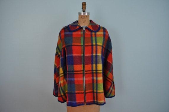 vintage plaid cape coat 60s 70s multicolored S