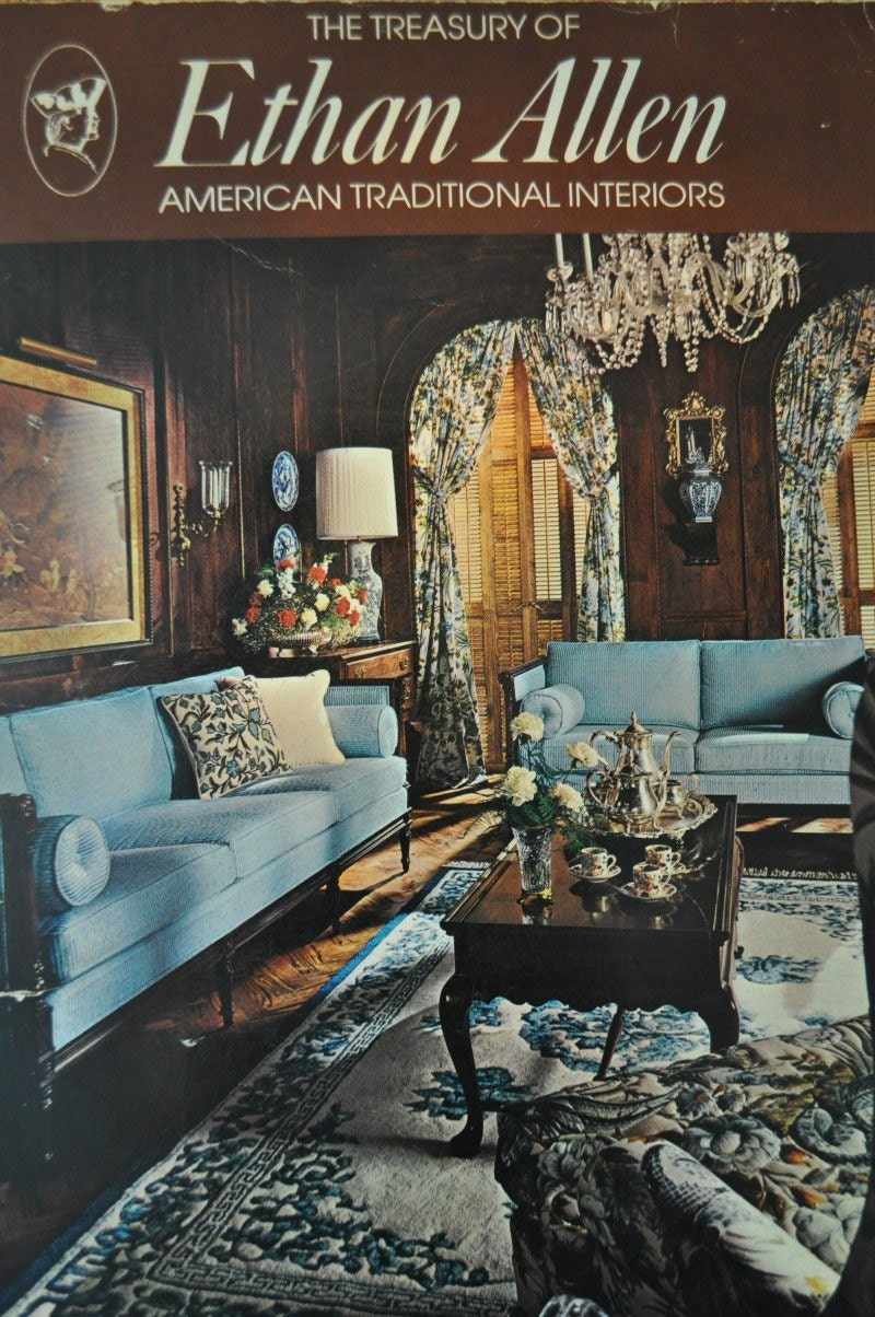 Vintage catalog 70s ethan allen furniture 1974 for Drawing room furniture catalogue
