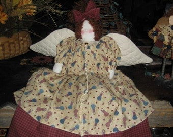Free Shipping in USA Vintage Angel Rag Doll with Quilted Wings
