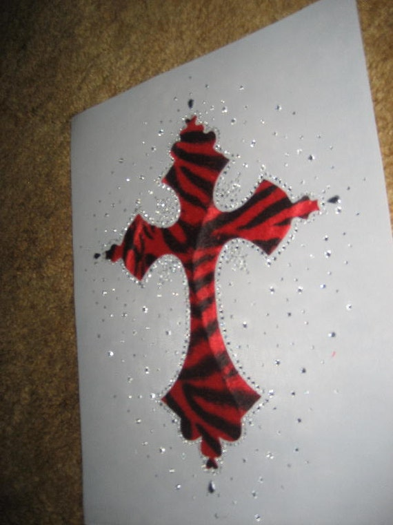 1/2 OFF SALE DIY Red and Black Faux Fur Zebra Cross Heat Transfer with Clear Crystal Rhinestones