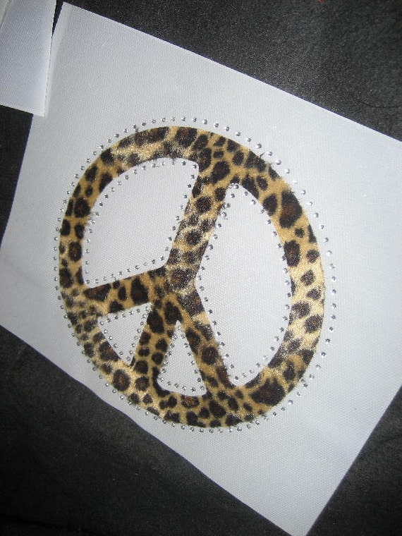 Leopard Peace Sign Heat Transfer in Faux Fur Finish & Crystals