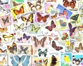 Lot of Mixed Worldwide Butterfly Postage Stamps for Altered Arts Collage Destash