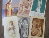 6 x Vintage French Prayer First Communion Cards