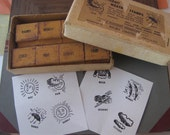 Vintage FULL BOX of 8 Old AUSTRALIAN School Wooden Rubber Stamps The Weather for Teachers