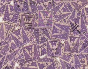 20 x Vintage Purple 3c Win The War US Postage Stamps for Altered Arts Mixed Media Collage