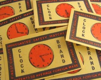 12  x Assorted Vintage Clock Matchbox Labels for Altered Arts Collage Destash