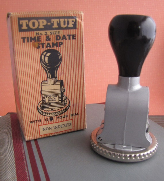 Vintage Date and Time Received Office Rubber Stamp Boxed