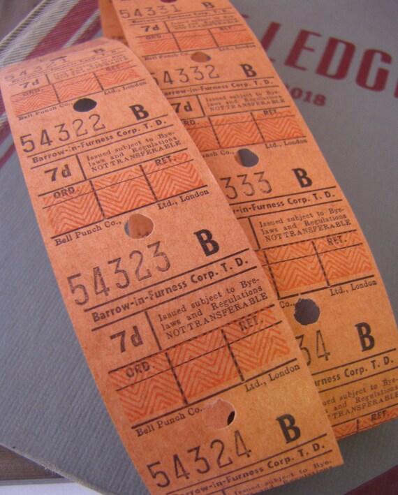 Strip of 15 x Vintage Orange Bus Tickets for Altered Arts Mixed Media Collage Destash
