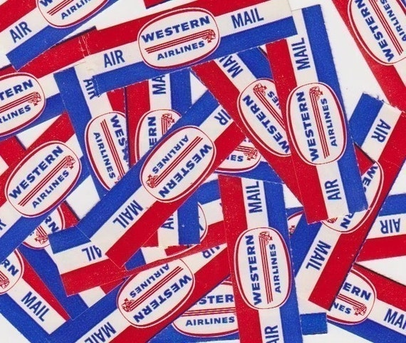 Vintage Post  Airmail AIR Mail Postage Labels for Altered Arts Mixed Media Collage
