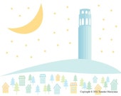 Starlight Coit Tower Art Print - San Francisco, Coit Tower, California, Wall Art, Nursery, Skyline, Star, Moon, Blue, Victorian House