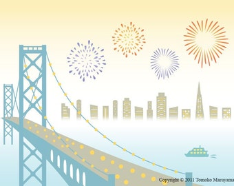 Bay Bridge Fireworks Art Print - San Francisco, Bay Bridge, California, 4th of July, Wall Art, Sailing, Yacht