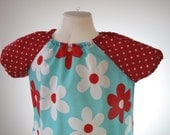 Michael Miller retro flowers peasant tunic with polkadot sleeves 5-6yrs (110-116cl)