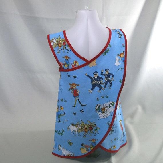 Pippi Longstocking skyblue criss cross apron dress sz