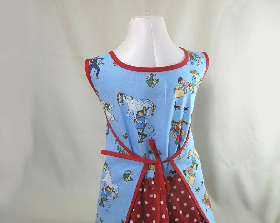 Pippi Longstocking blue apron dress with red fake skirt sz