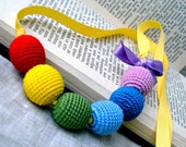 Rainbow Necklace - Colorful Children Necklace - Crochet Jewelry - Crochet Necklace - Crochet Beads Necklace with Satin Bow